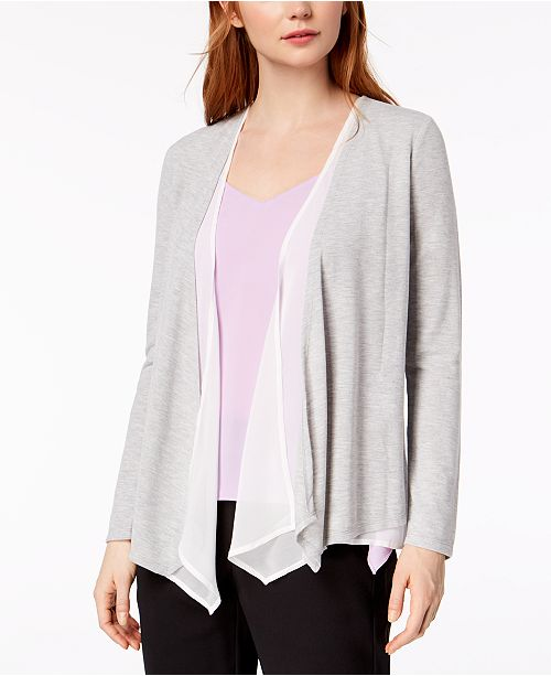 for Heather Medium Cardigan Contrast Grey Bar III Draped Created Macy's qO6ZRBw
