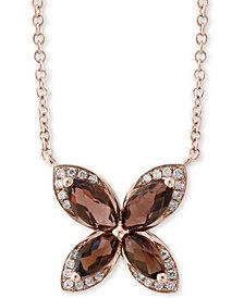 "EFFY® Smoky Quartz (1-1/10 ct. t.w.) & Diamond (1/10 ct. t.w.) 18"" Pendant Necklace in 14k Rose Gold"