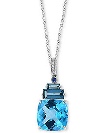 "EFFY Multi-Gemstone (9-3/8 ct. t.w.) and Diamond Accent 18"" Pendant Necklace in 14k White Gold"