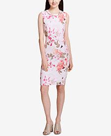 Calvin Klein Printed Faux-Pearl-Trim Sheath Dress