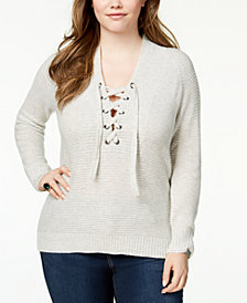 Lucky Brand Trendy Plus Size Lace-Up Tunic Sweater