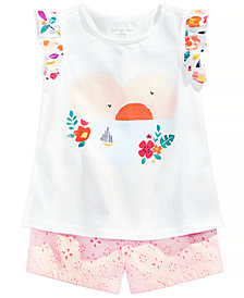 First Impressions Graphic-Print Top & Shorts Set, Baby Girls, Created for Macy's