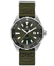 TAG Heuer Men's Swiss Aquaracer Olive Fabric Strap Watch 43mm