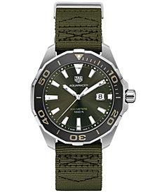 TAG Heuer Men's Swiss Aquaracer Olive Fabric Strap Watch 43mm