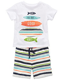 First Impressions Surfboard-Print T-Shirt & Striped Shorts, Baby Boys, Created for Macy's