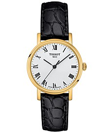 Women's Swiss T-Classic Everytime Black Leather Strap Watch 30mm