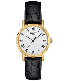 Tissot Women's Swiss T-Classic Everytime Black Leather Strap Watch 30mm