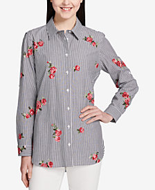 Calvin Klein Cotton Floral-Embroidered Striped Blouse