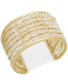 I.N.C. Gold-Tone Beaded Multi-Row Cuff Bracelet, Created for Macy's