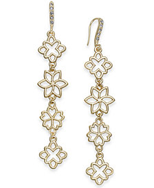 I.N.C. Gold-Tone Flower Linear Drop Earrings, Created for Macy's