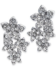 INC Silver-Tone Crystal Cluster Flower Drop Earrings, Created for Macy's