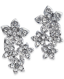 I.N.C. Silver-Tone Crystal Cluster Flower Drop Earrings, Created for Macy's