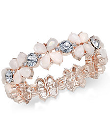 Charter Club Rose Gold-Tone Crystal & Stone Stretch Bracelet, Created for Macy's