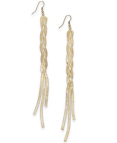 Thalia Sodi Gold-Tone Braided Herringbone Linear Drop Earrings, Created for Macy's