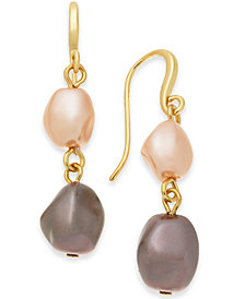 Charter Club Gold-Tone Imitation Pearl Double Drop Earrings, Created for Macy's