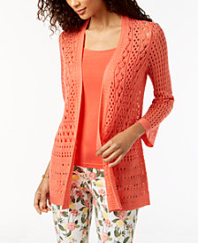 Charter Club Bell-Sleeve Open-Knit Cardigan, Created for Macy's