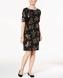Karen Scott Petite Metallic-Print Boat-Neck Dress, Created for Macy's