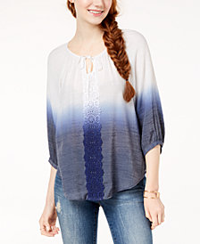 BCX Juniors' Crochet-Trim Ombré Blouse
