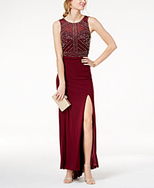 Morgan & Company Juniors' Beaded Mesh Slit Gown