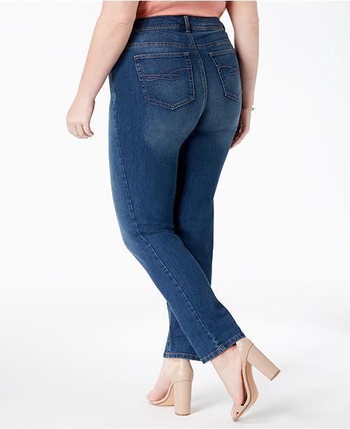 14052c502eacb Style   Co Plus   Petite Plus Size Tummy-Control Slim-Leg Jeans ...