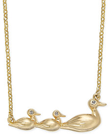 "kate spade new york Gold-Tone Pavé Duck Short Pendant Necklace, 17"" + 3"" extender"