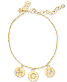 kate spade new york Gold-Tone Pavé Mom Charm Bracelet