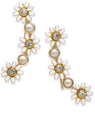 Gold-Tone Crystal & Imitation Pearl Flower Climber Earrings