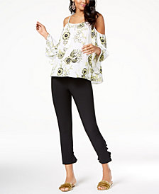I.N.C. Cold-Shoulder Top & Ruffled-Hem Skinny Pants, Created for Macy's