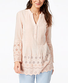 Style & Co Cotton Eyelet Shirt, Created for Macy's