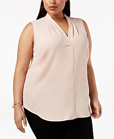 Calvin Klein Plus Size Pleated Shell