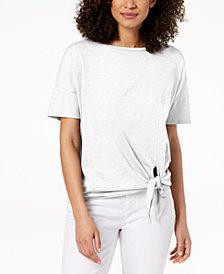 Eileen Fisher Organic Cotton Tie-Hem T-Shirt