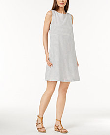 Eileen Fisher Hemp Blend Striped A-Line Dress