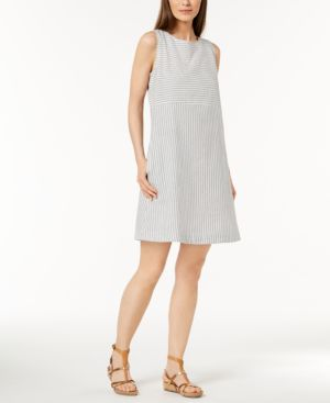 Eileen Fisher Hemp Blend Striped A-Line Dress 6126031