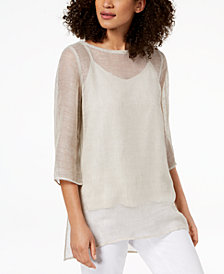 Eileen Fisher Organic Linen Mesh Boat-Neck Tunic, Regular & Petite