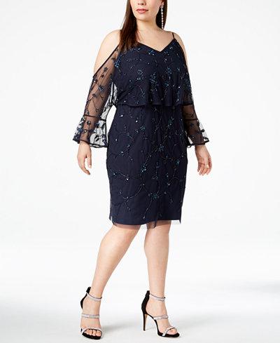 Adrianna Papell Plus Size Cold-Shoulder Embellished Dress