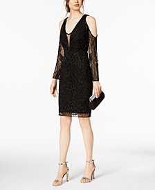Adrianna Papell Petite Cold-Shoulder Beaded Dress