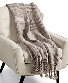 CLOSEOUT! Charter Club Damask Designs Multi-Knit Tassel Throw, Created for Macy's