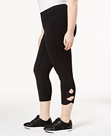 Calvin Klein Performance Plus Size High-Waist Cutout Cropped Leggings