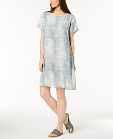Eileen Fisher Silk Boat-Neck Dress, Regular & Petite