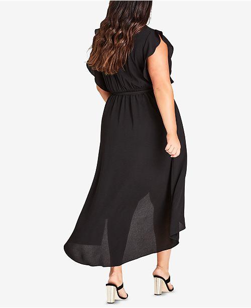 City Size Dress High Plus Black Trendy Low Maxi Chic rfqrpR