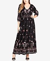 9029dab280c City Chic Trendy Plus Size Peacock-Print Maxi Dress