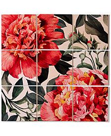 Deny Designs Marta Barragan Camarasa Watercolor Flowers 9-Pc. Printed Wood Wall Mural
