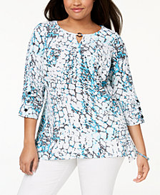 JM Collection Plus Size Printed Crinkle Top, Created for Macy's