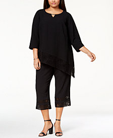 JM Collection Plus Size Crinkle Crochet-Trim Top & Capri Pants, Created for Macy's