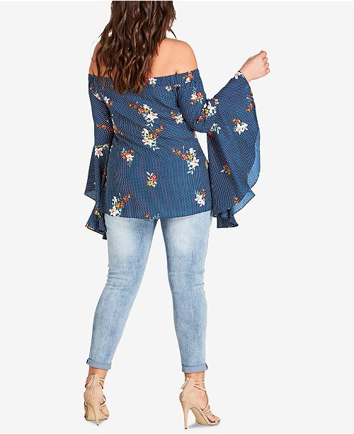 Off Size Chic Top City The Blue Trendy Shoulder Plus Spotted UTIWR4q
