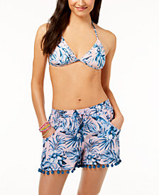 Bar III Tropic Garden Triangle Bikini Top & Cover-Up Shorts, Created for Macy's