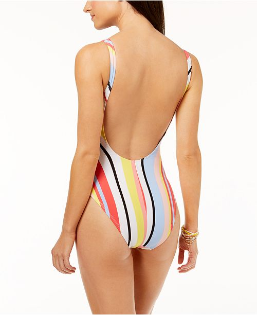III for Cheeky Piece Macy's Bold Multi Created Leg Stripe Bar Swimsuit High Back One Low High Leg Hdf0xUn6