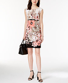 Connected Petite Belted Sheath Dress