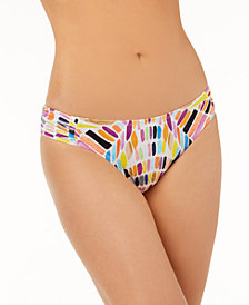 Bar III Kalediscope Printed Side-Cinch Hipster Bikini Bottoms, Created for Macy's