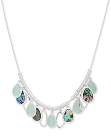 "Nine West Silver-Tone Multi-Stone Collar Necklace, 16"" + 2"" extender"